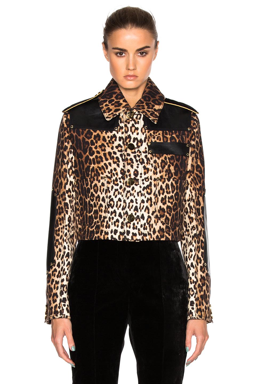 Givenchy Leopard Printed Grain de Poudre Jacket in Neutrals,Animal Print