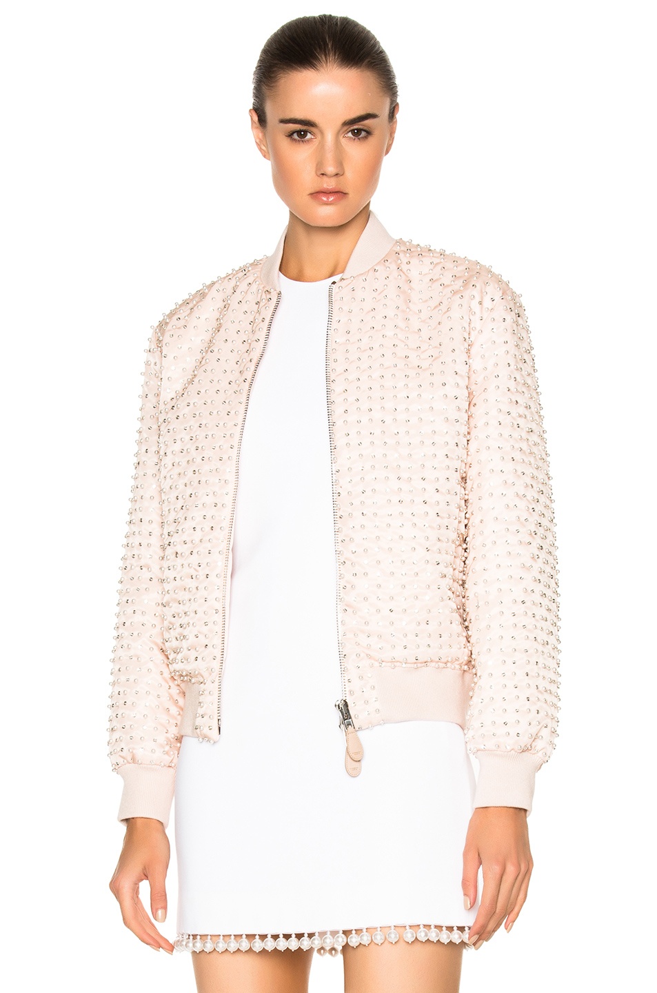 Givenchy Crystal Pearl Embroidered Bomber in Neutrals,Pink