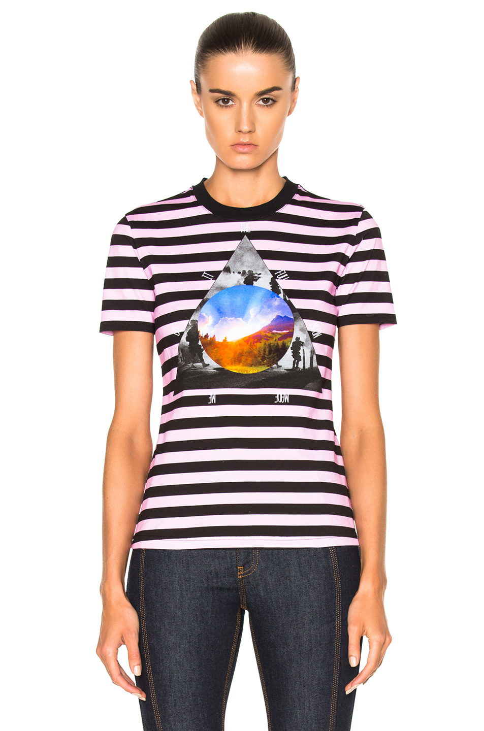 Givenchy Striped Graphic Tee in Black,Pink,Stripes