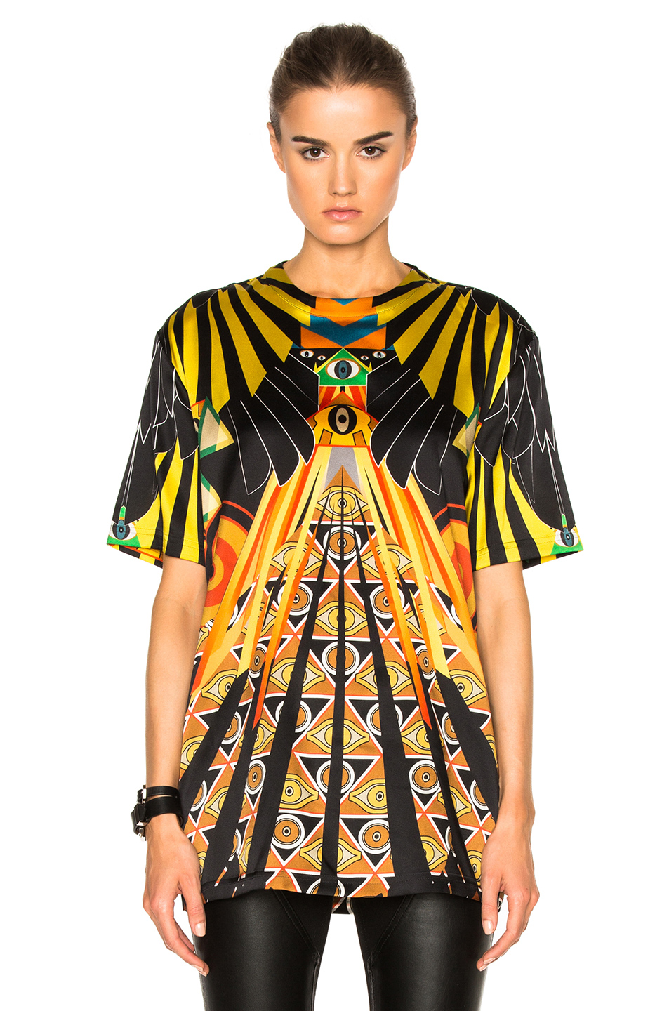 Givenchy Optical Wings Satin Tee in Black,Yellow,Abstract