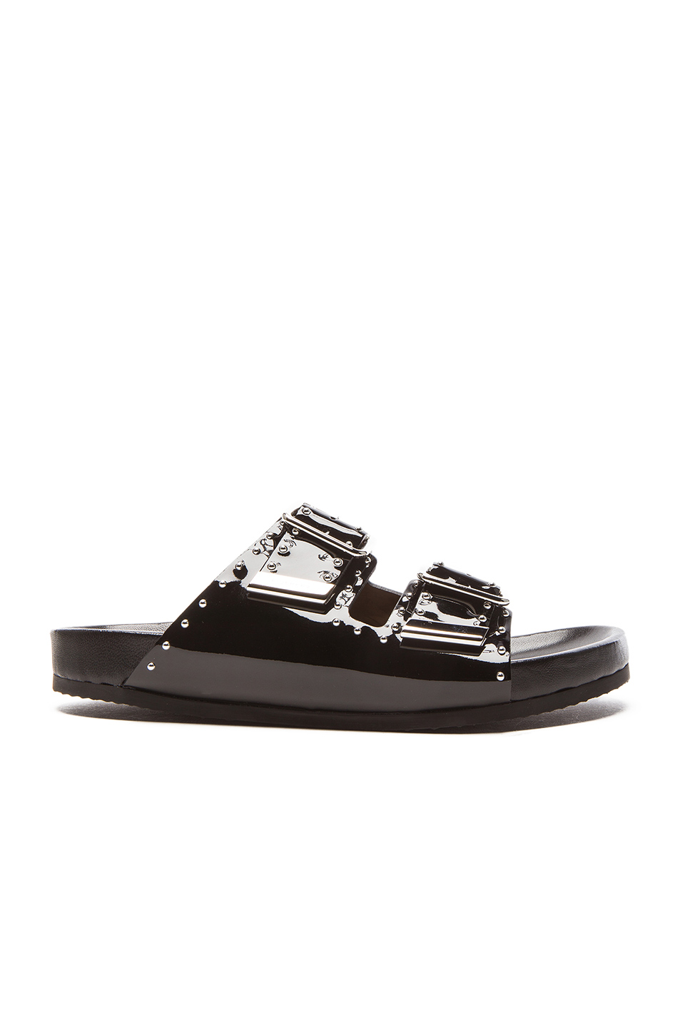 GIVENCHY Swiss Studs Patent Leather Sandals in Black