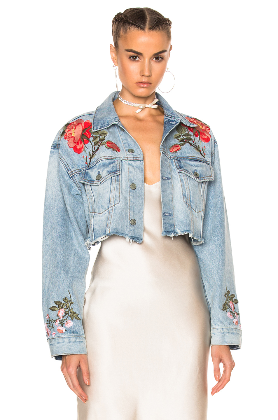 GRLFRND for FWRD Cropped Boyfriend Trucker Jacket in Blue
