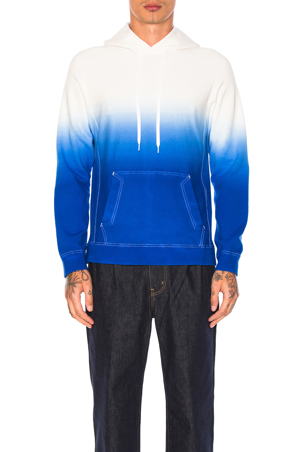 GANRYU Cotton Pile Lined Sweatshirt in Blue,Ombre & Tie Dye