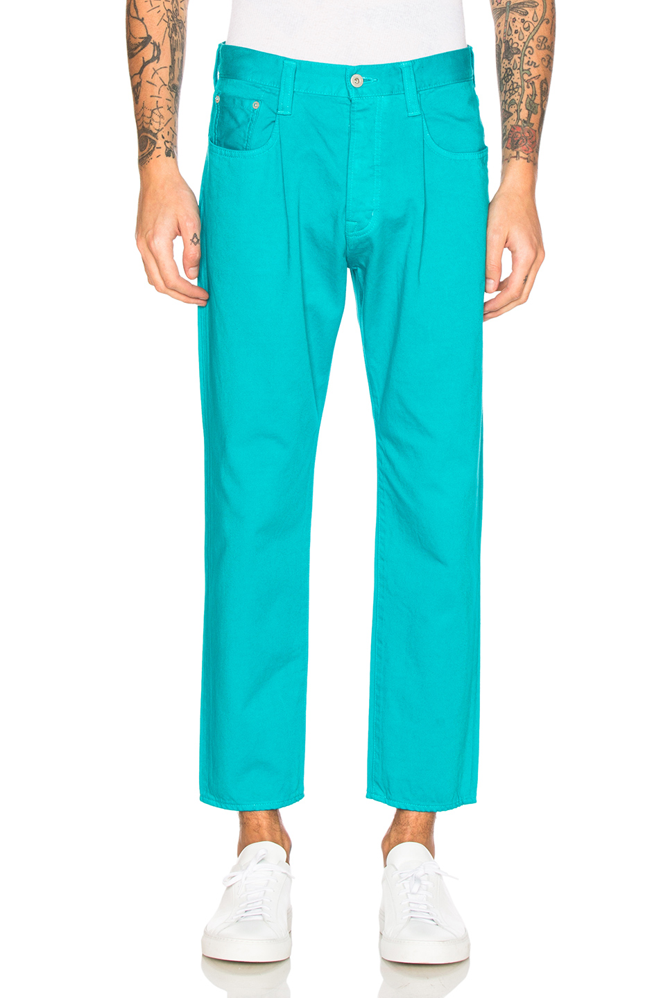 GANRYU Cotton Satin Trousers in Blue