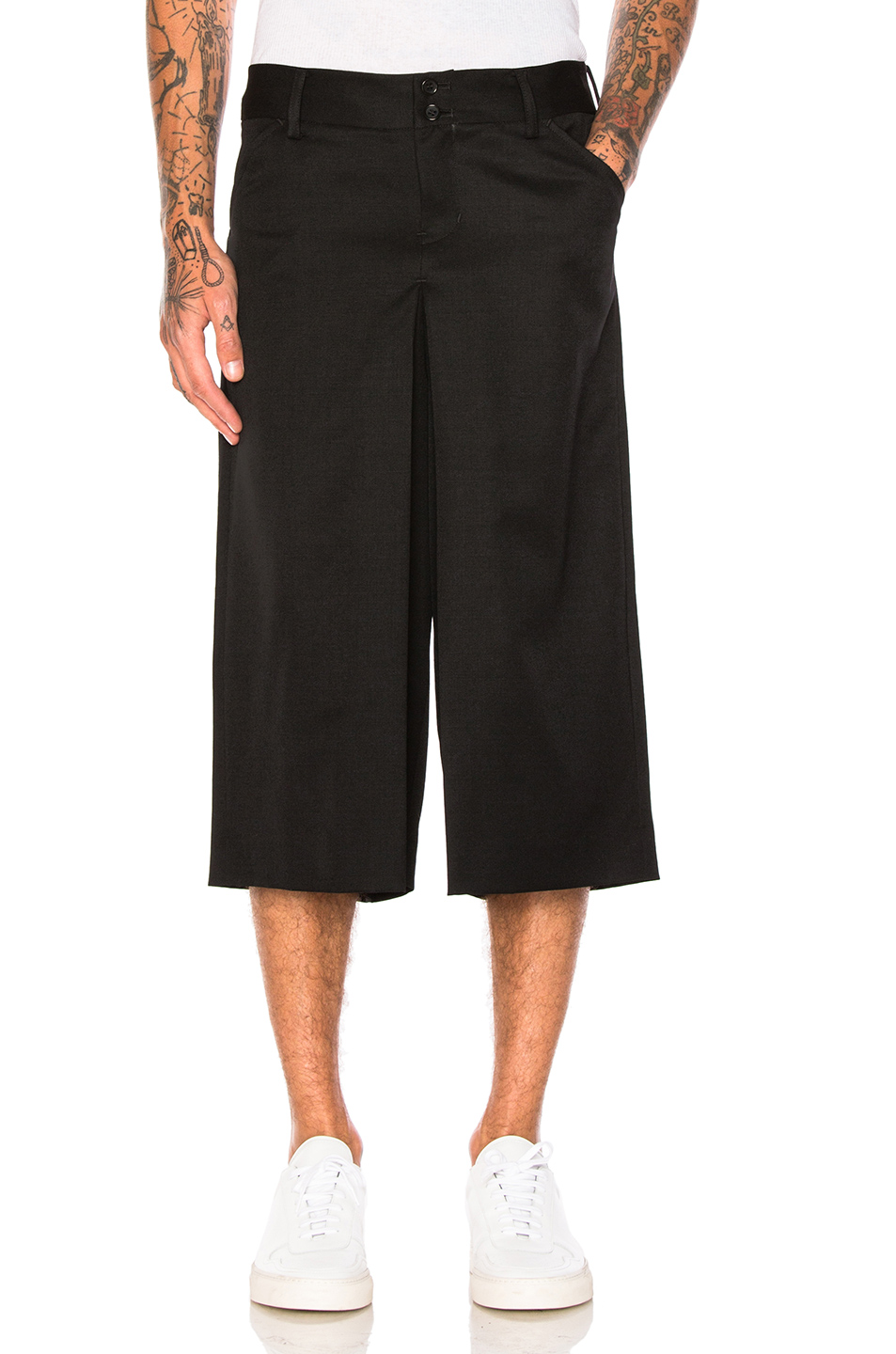 GANRYU Wool Gabardine Pants in Black