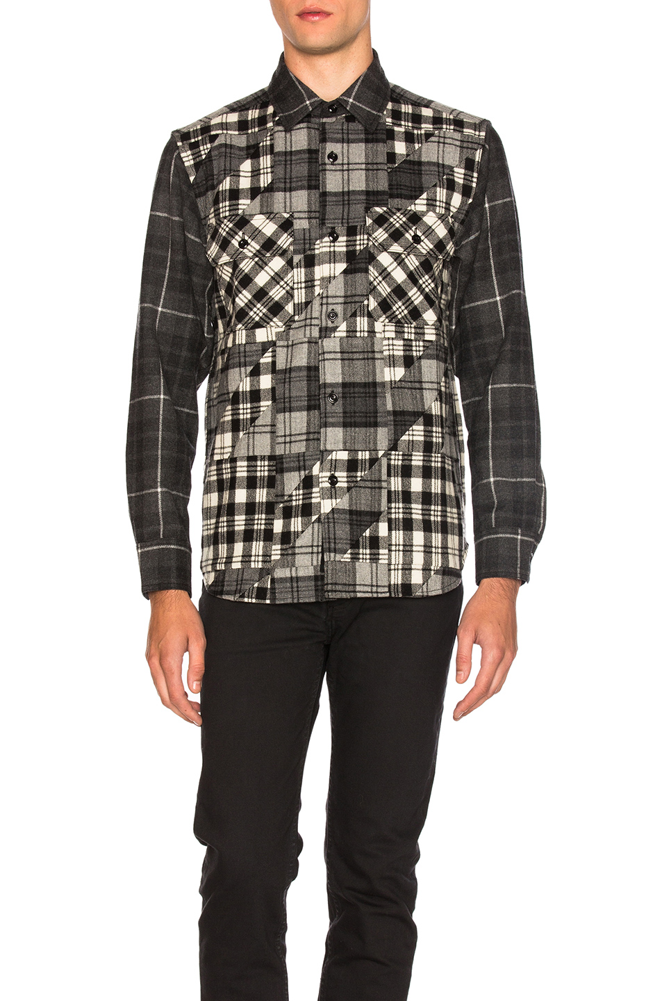 GANRYU Wool Check Shirt in Black,Geometric Print