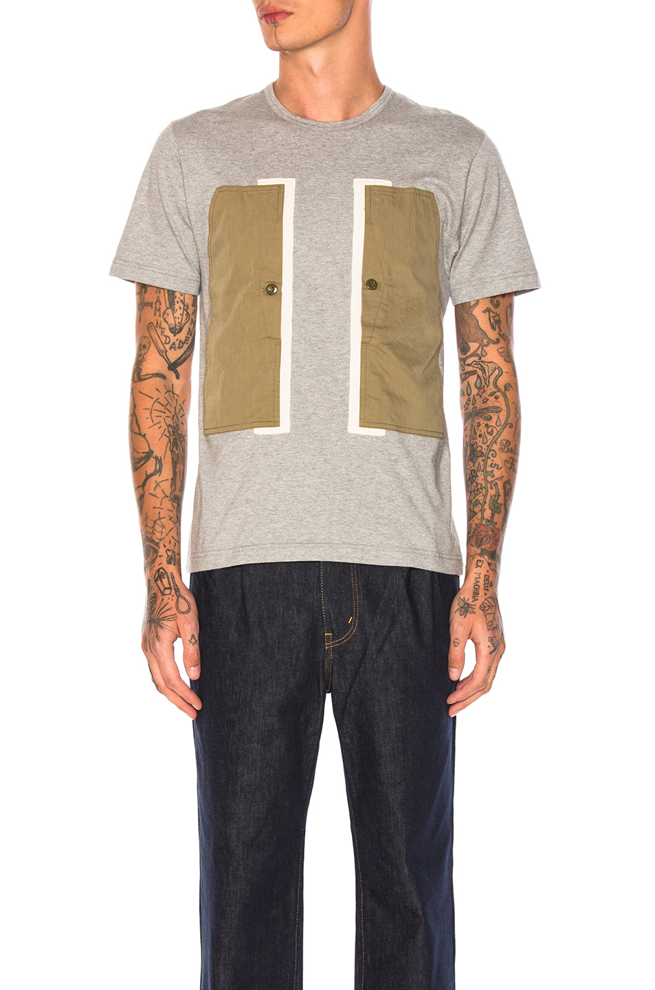 GANRYU Cotton Jersey T-Shirt in Gray
