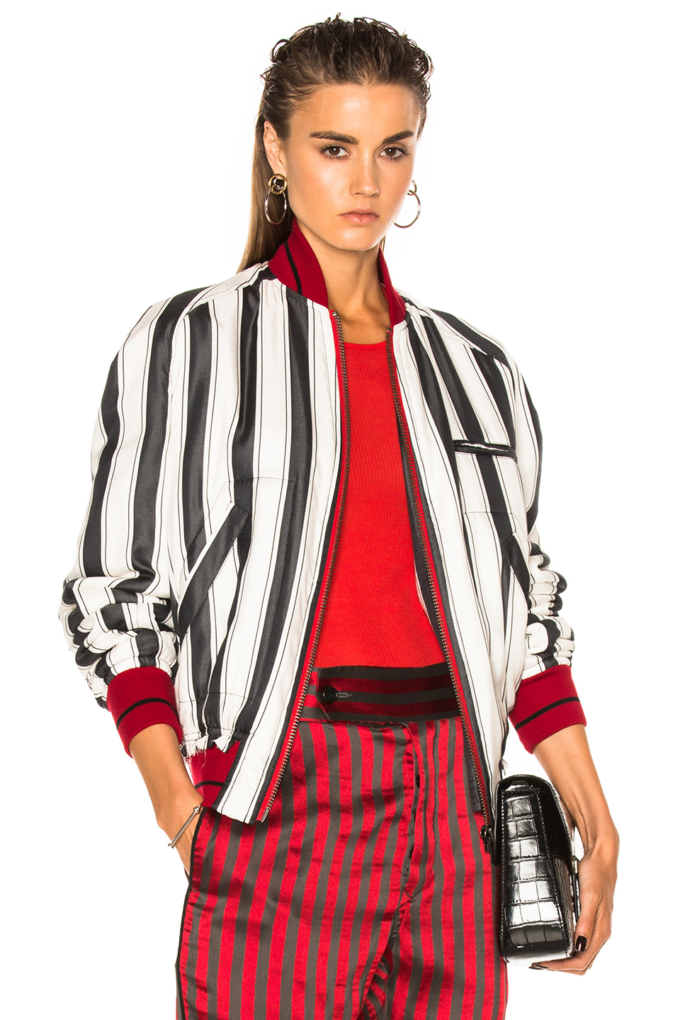 Haider Ackermann Striped Bomber Jacket in White,Stripes