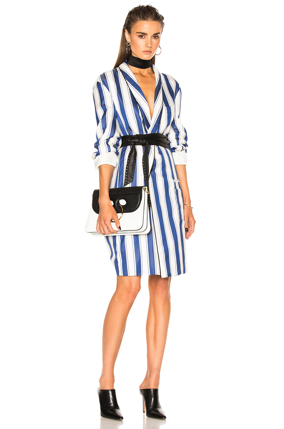 Haider Ackermann Oversized Coat in Blue,Stripes,White