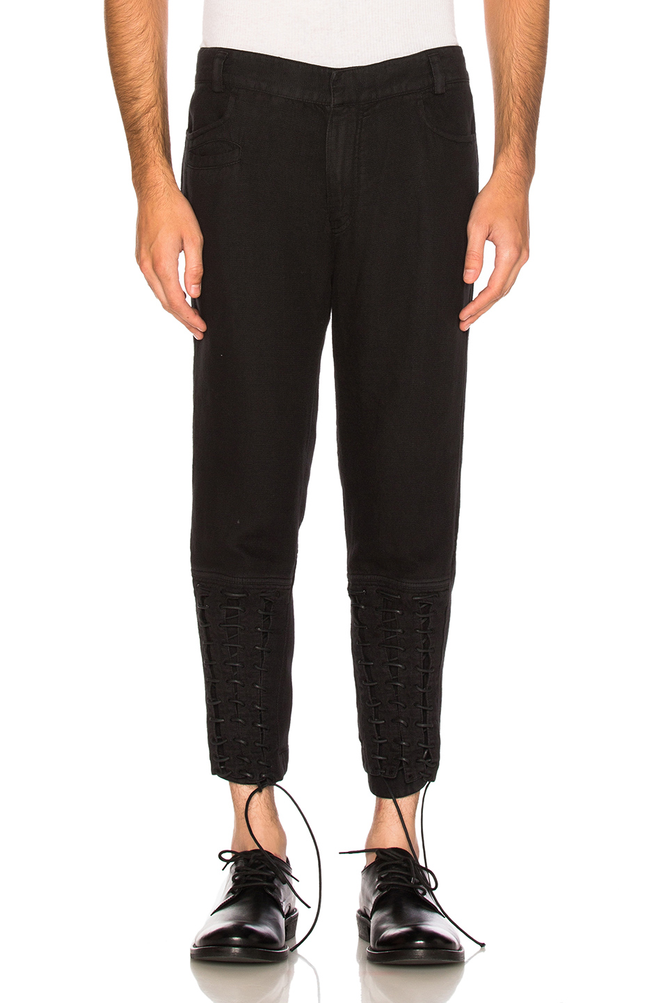 Haider Ackermann Lace Up Biker Trousers in Black