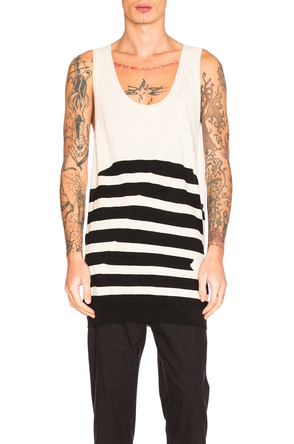 Haider Ackermann Knit Tank in White,Stripes