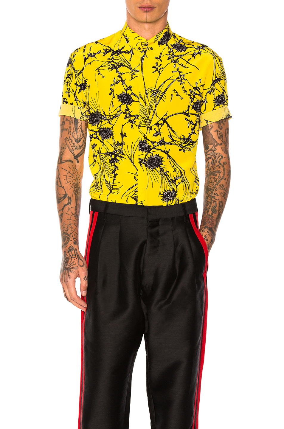Haider Ackermann Short Sleeve Shirt in Yellow,Floral,Abstract