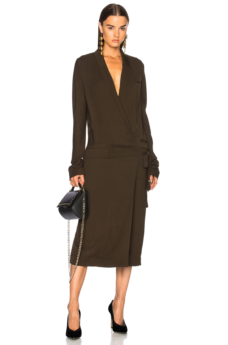 Haider Ackermann Wrap Coat Dress in Green
