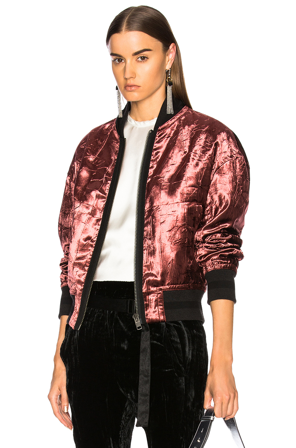 Haider Ackermann Velvet Bomber Jacket in Red