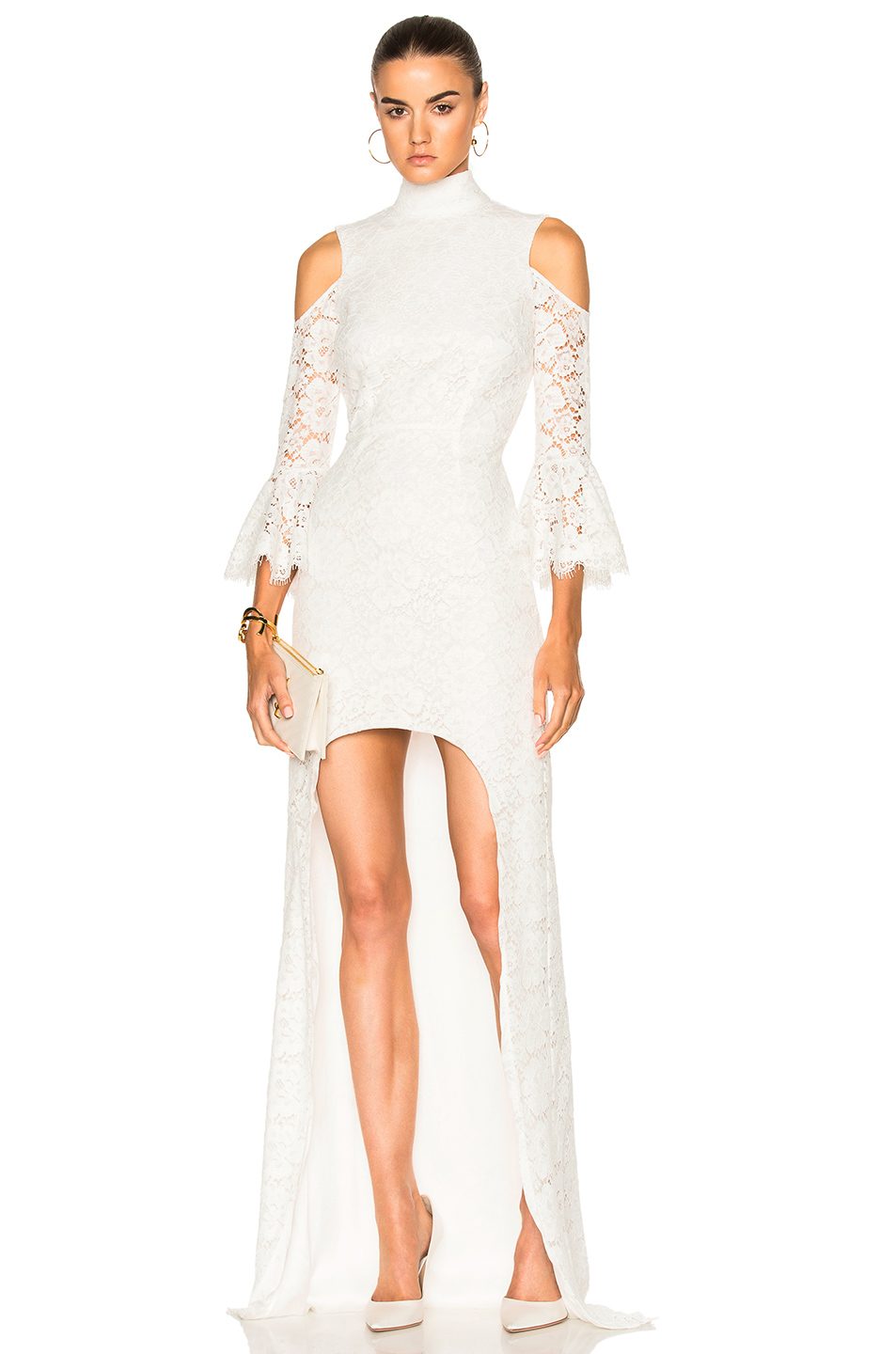 Houghton Ashton Guipure Lace Hi Low Gown in White