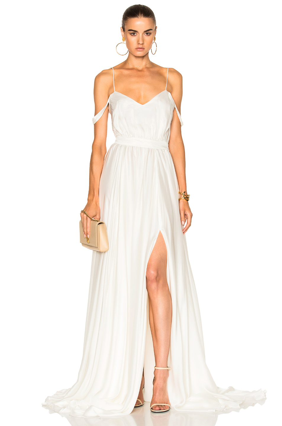 Houghton Morgan V Neck Empire Gown in White