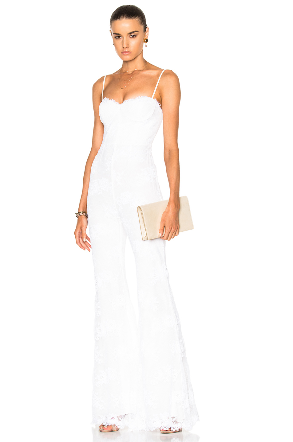 Houghton Bianca Wide Leg Fitted Jumpsuit in White