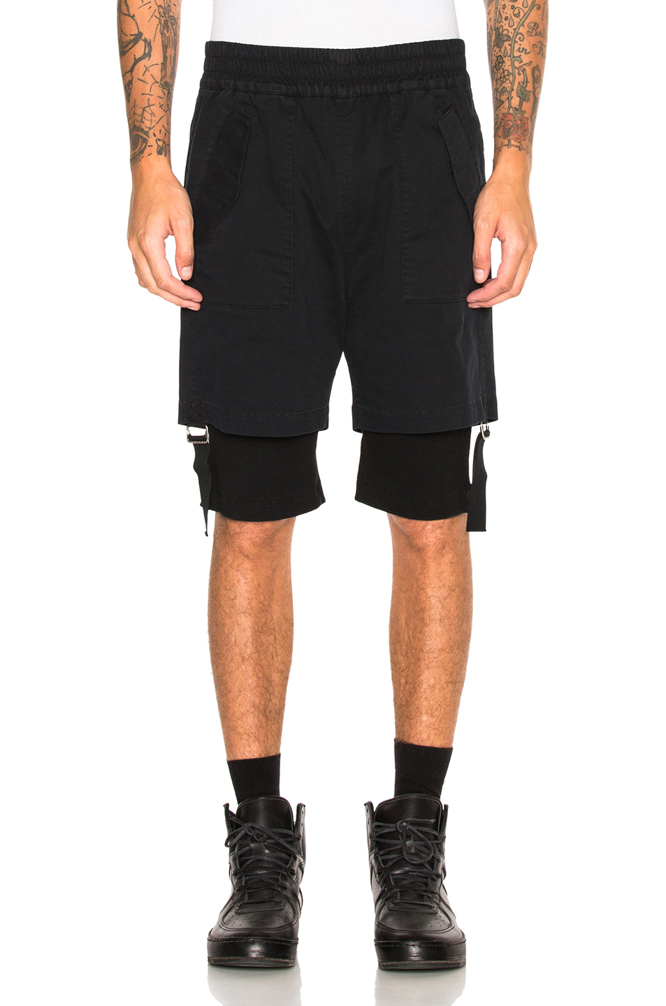 Helmut Lang Double Layer Shorts in Black