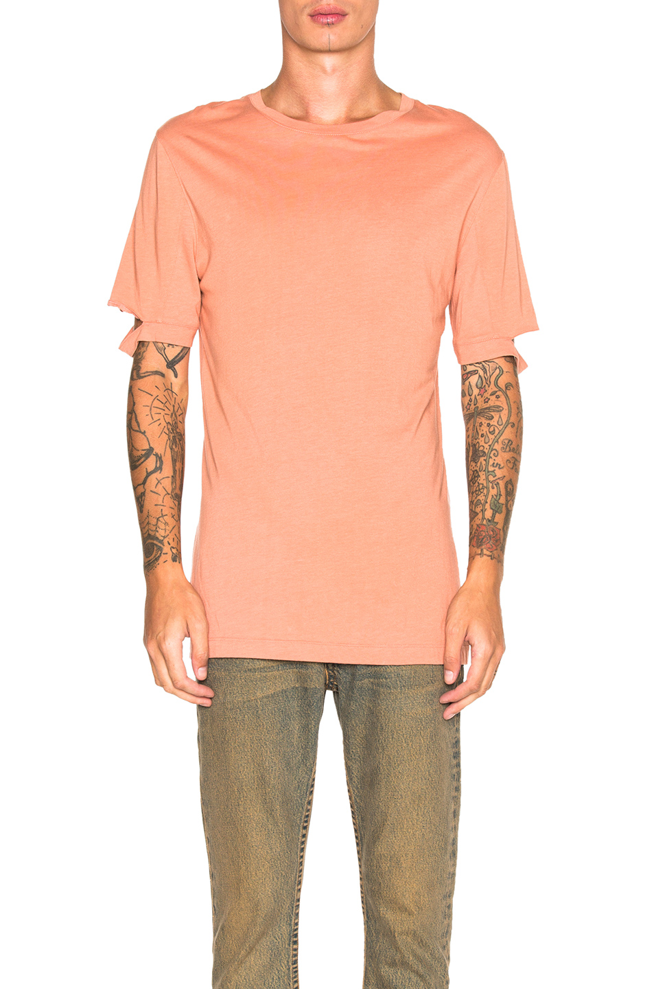 Helmut Lang Standard Fit Cut Hem Tee in Orange