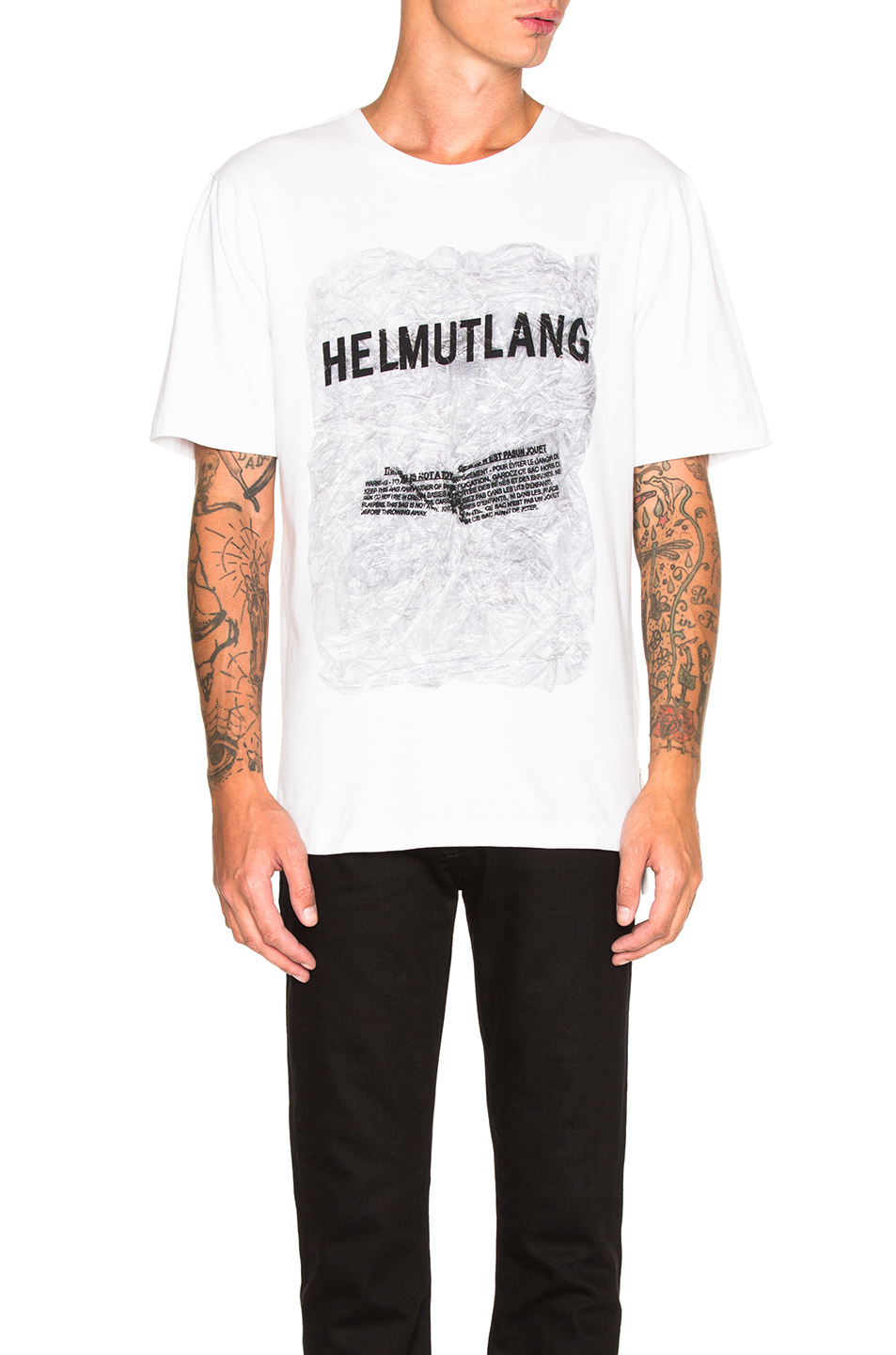 Helmut Lang Crinkled Poly Print Jersey Tee in White