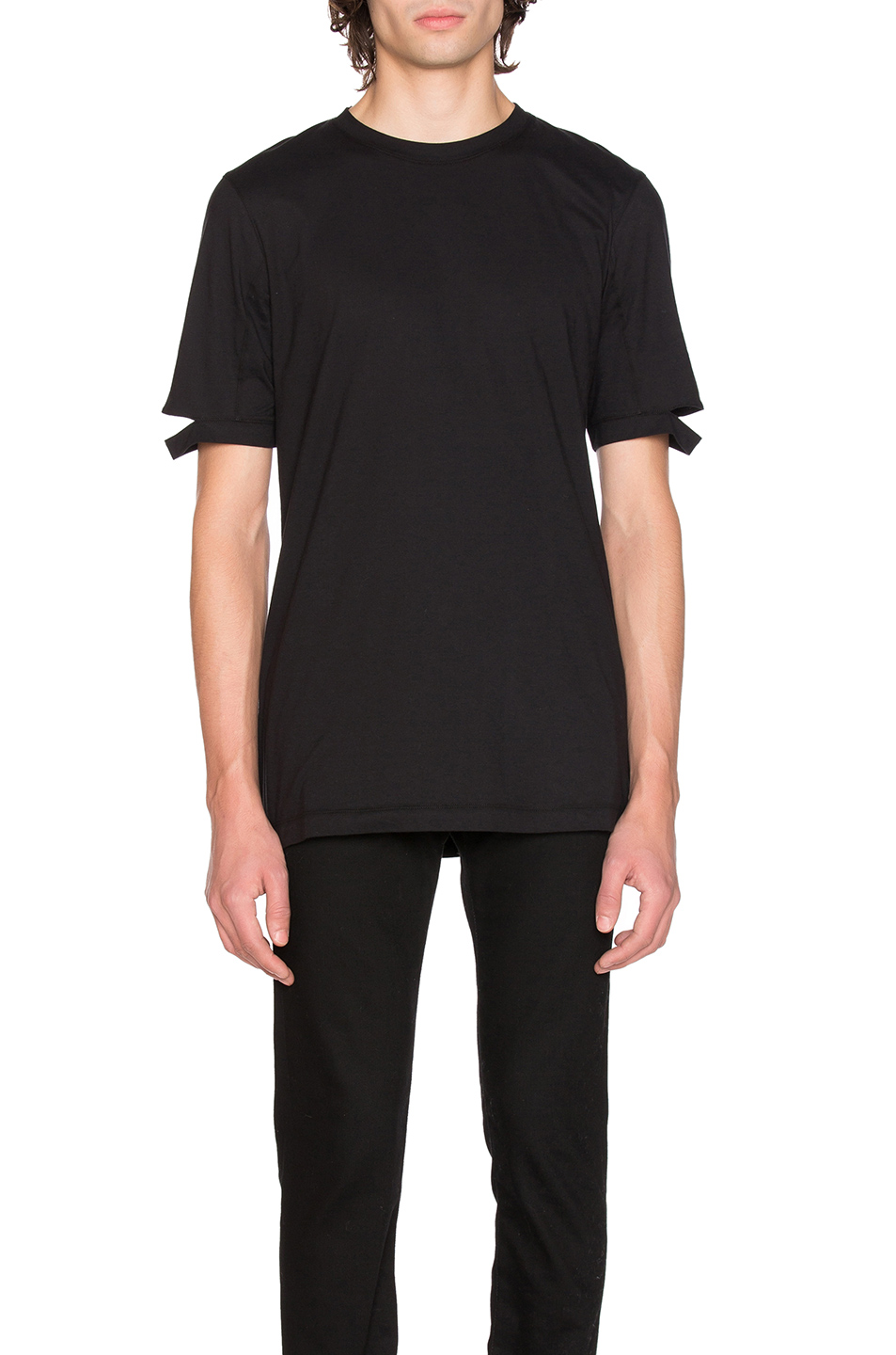 Helmut Lang Cut Hem Tee in Black