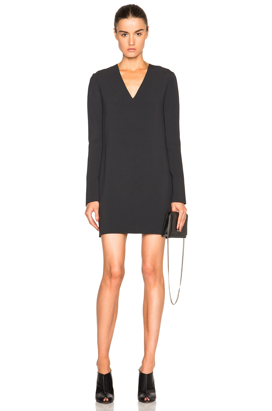 Helmut Lang V Neck Dress in Gray