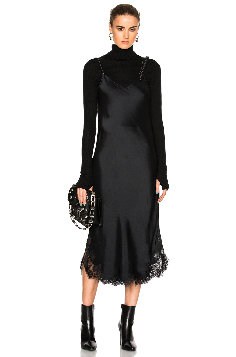 Helmut Lang Lace Slip Dress in Black