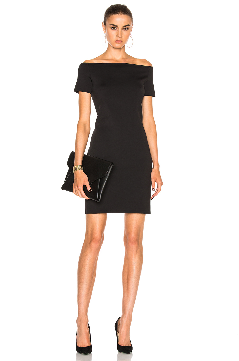 Helmut Lang Off Shoulder Dress in Black