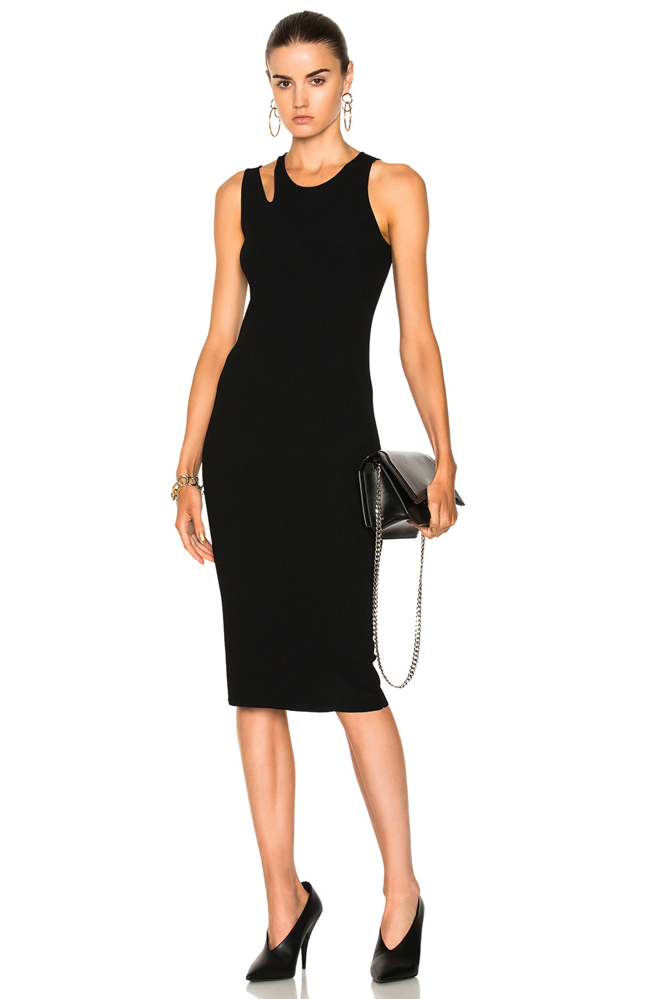 Helmut Lang Slash Rib Dress in Black