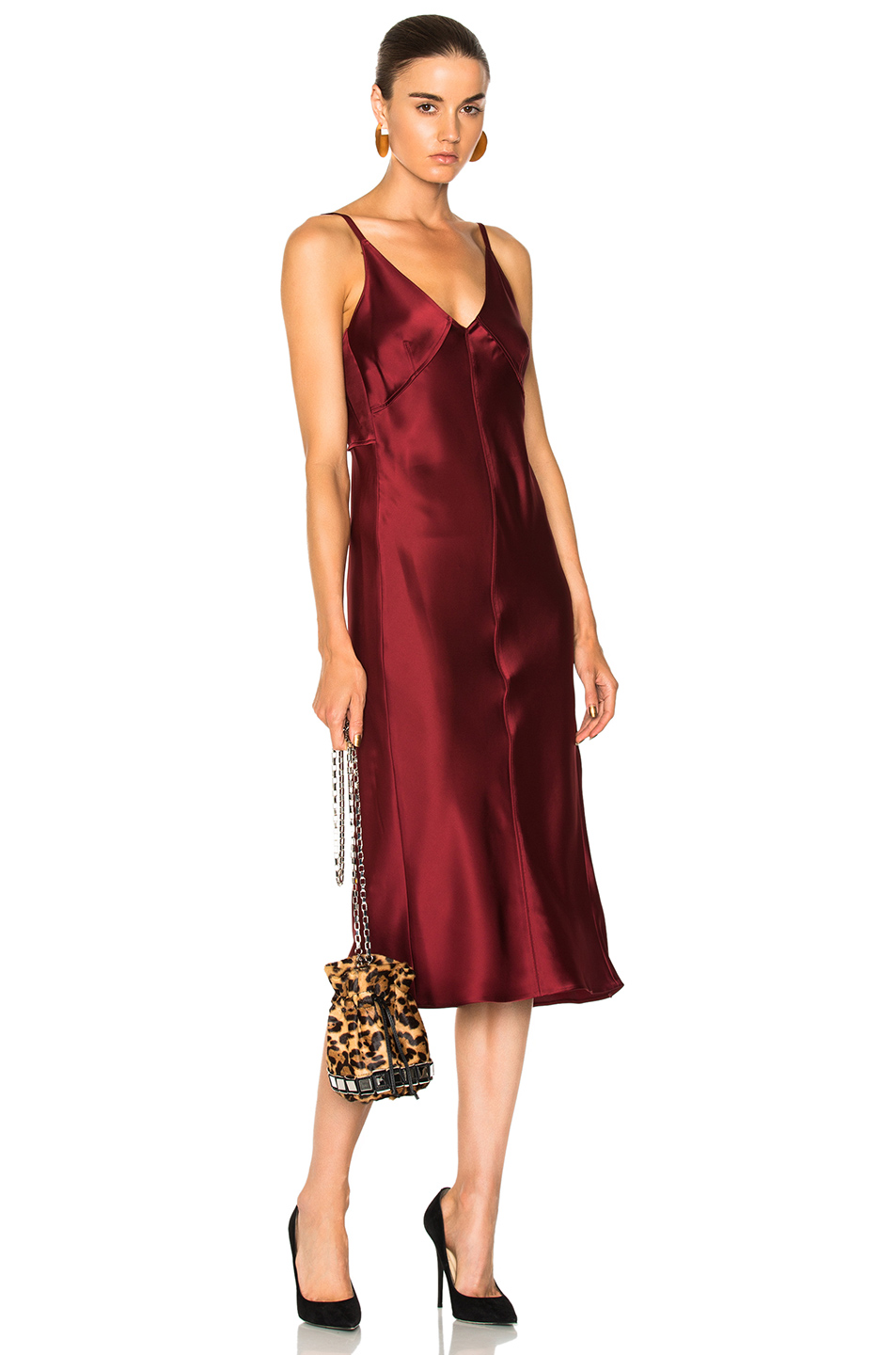 Helmut Lang Deconstructed Slip Dress in Red