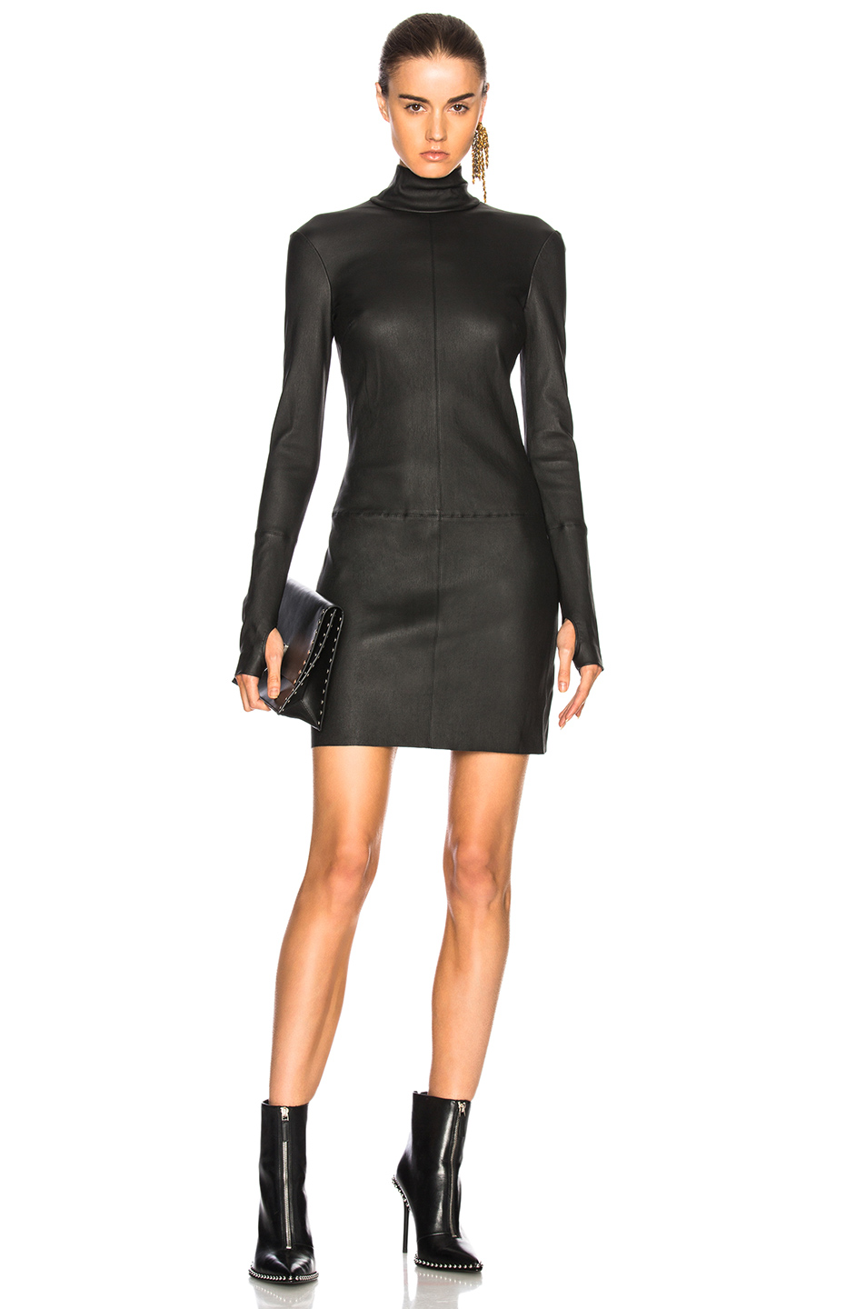 Helmut Lang Long Sleeve Leather Dress in Black
