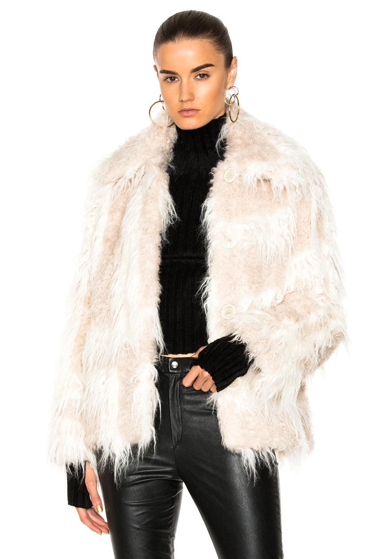 Helmut Lang Shawl Collar Faux Fur Jacket in White
