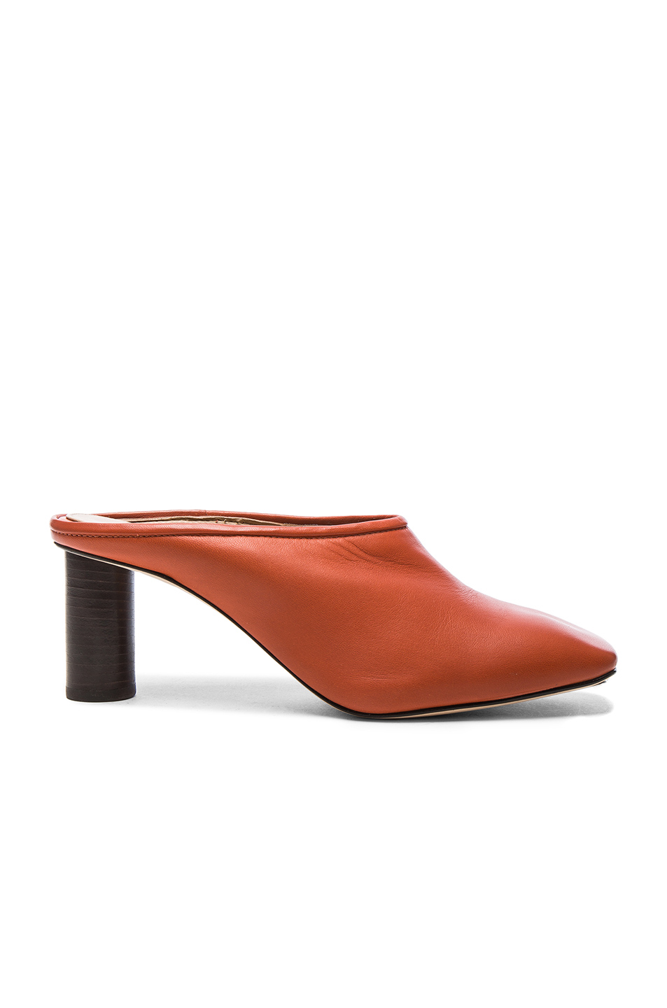 Helmut Lang Square Toe Leather Mules in Orange
