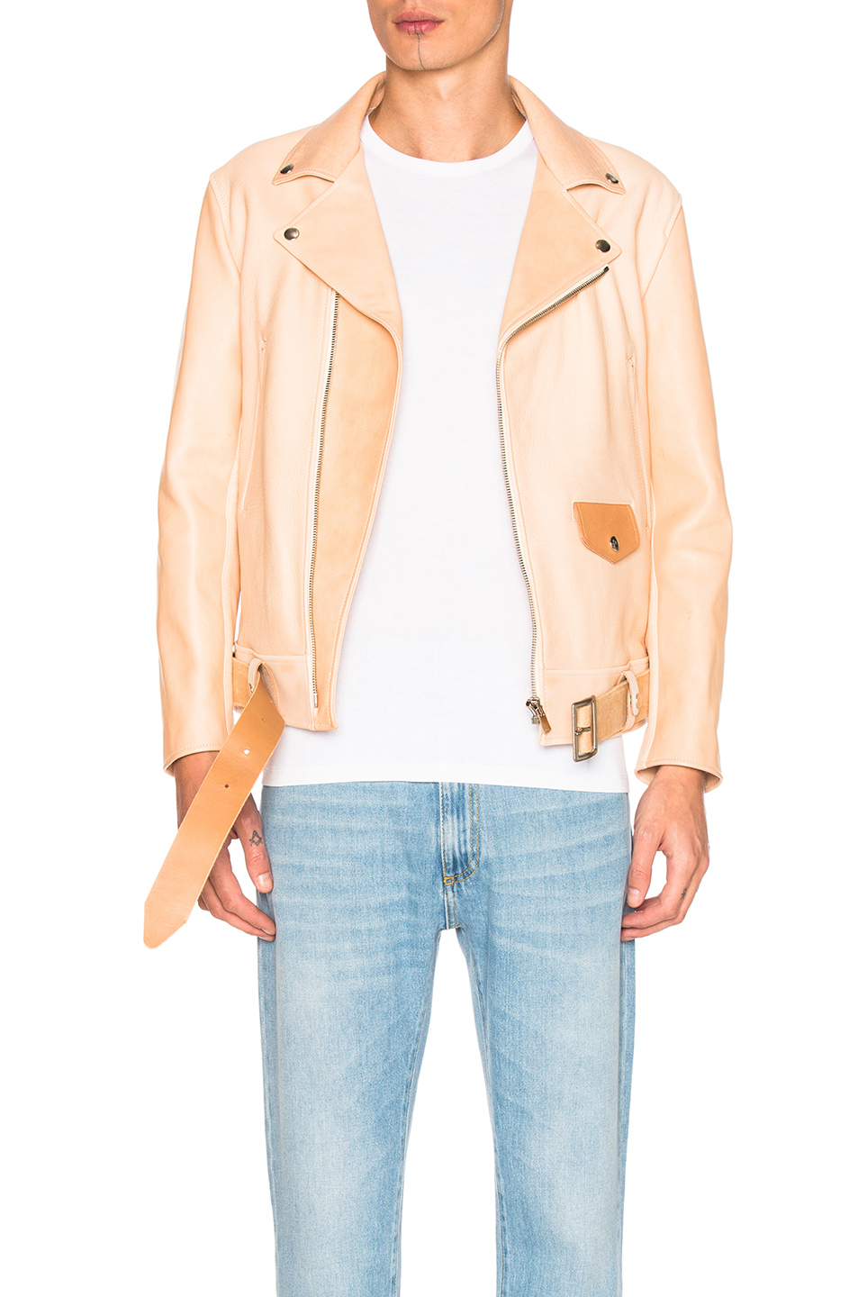 Hender Scheme Leather Jacket in Neutrals