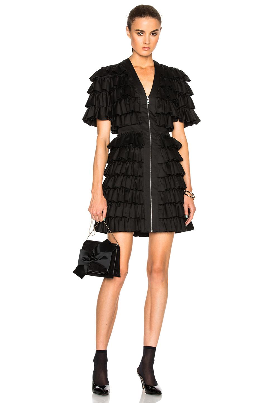 Isa Arfen All Over Ruffle Mini Dress in Black