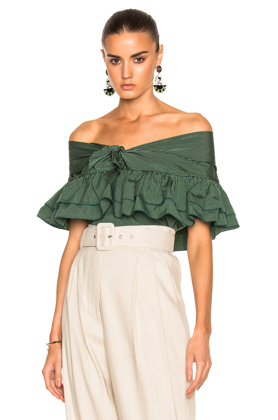 Isa Arfen Ruffle Knot Top with Short Sleeves in Green,Stripes
