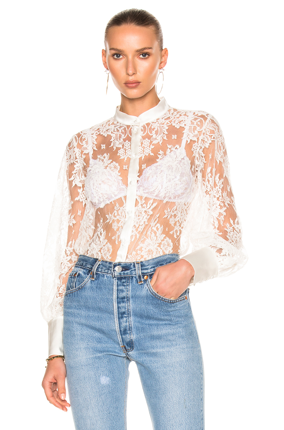I.D. SARRIERI Lace Shirt Bodysuit in White
