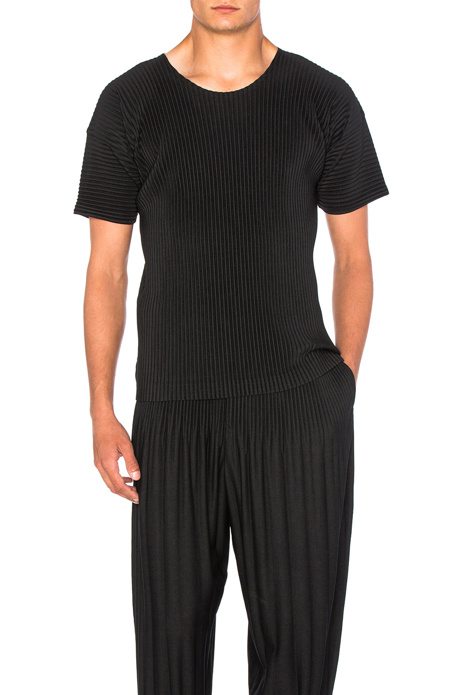 Issey Miyake Homme Plisse Short Sleeve Tee in Black
