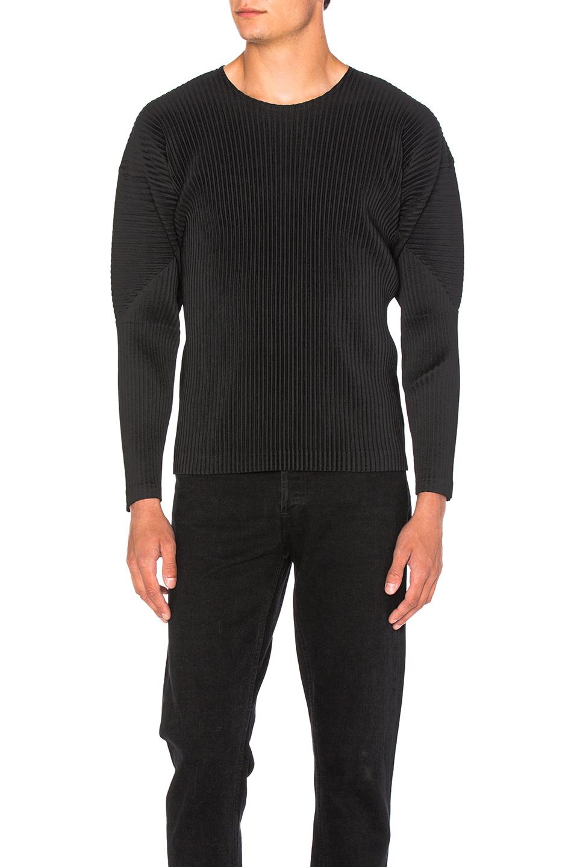 Issey Miyake Homme Plisse Long Sleeve Tee in Black
