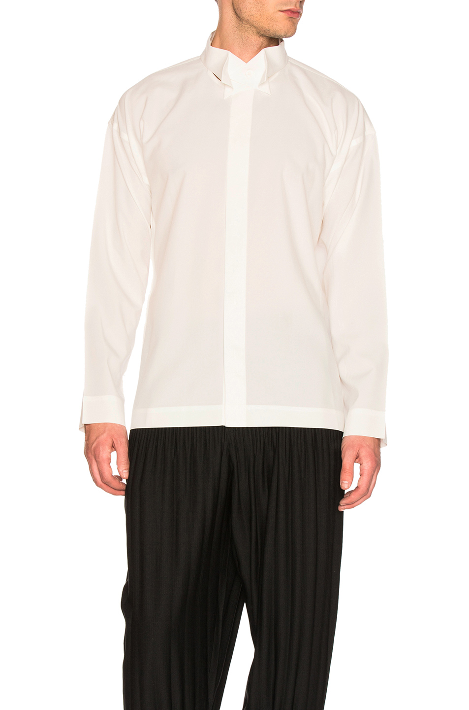 Issey Miyake Homme Plisse Bow Tie Press Shirt in White