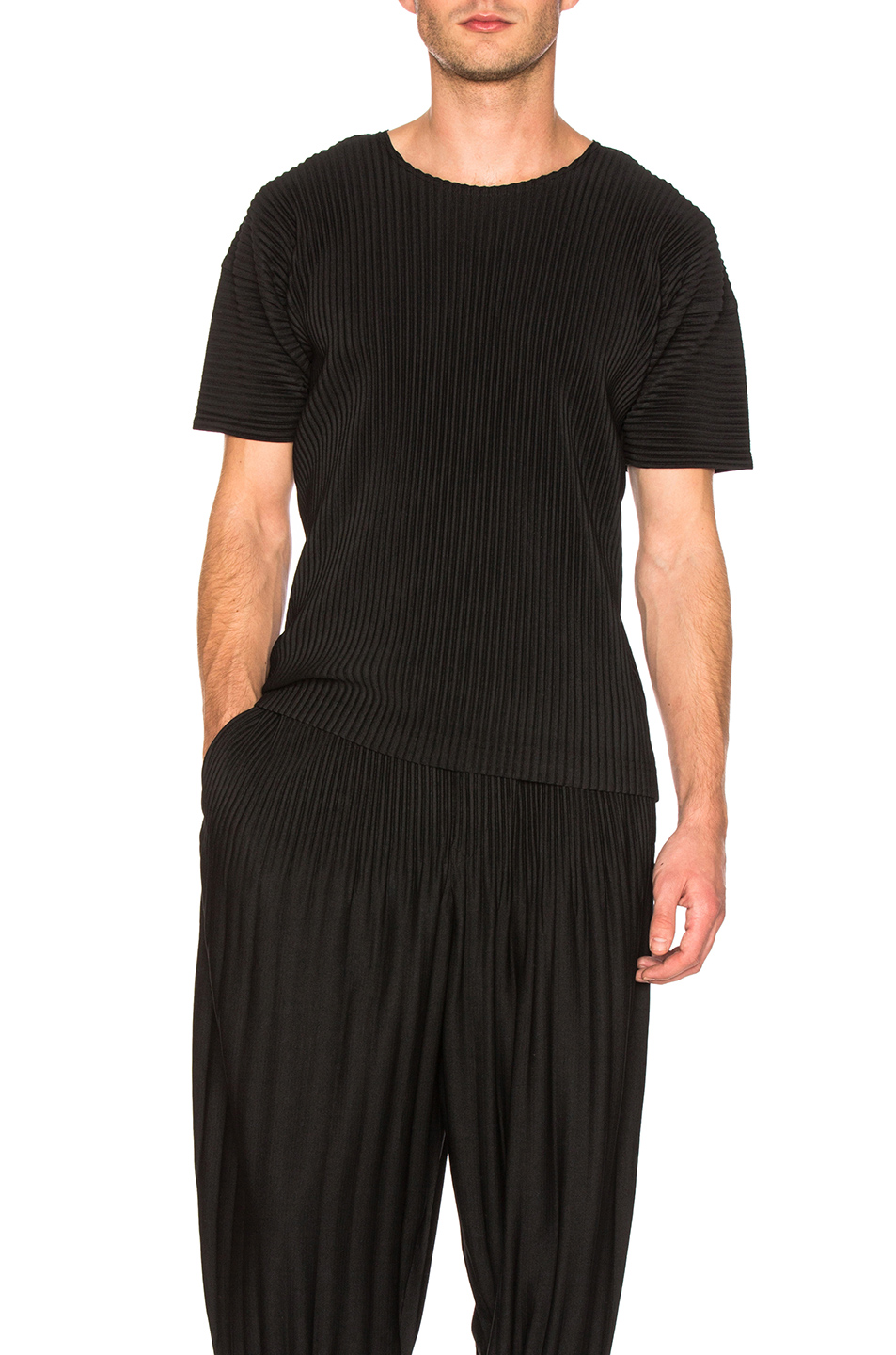 Issey Miyake Homme Plisse Basic Short Sleeve Shirt in Black