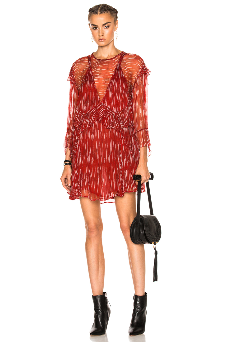 IRO Canyon Dress in Abstract,Red