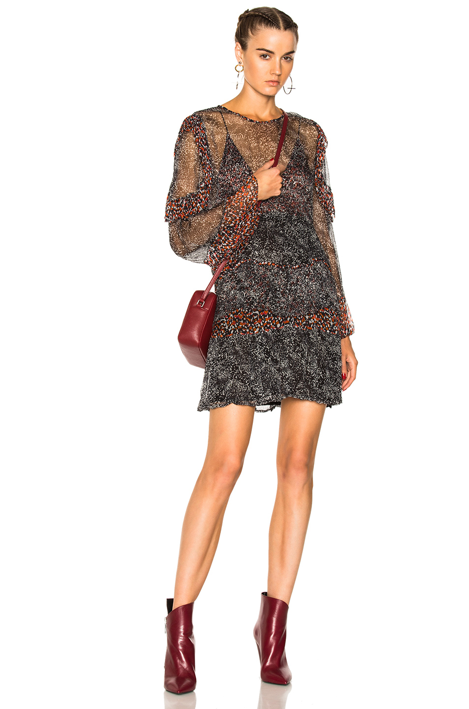 IRO Trillie Dress in Animal Print,Black,Red