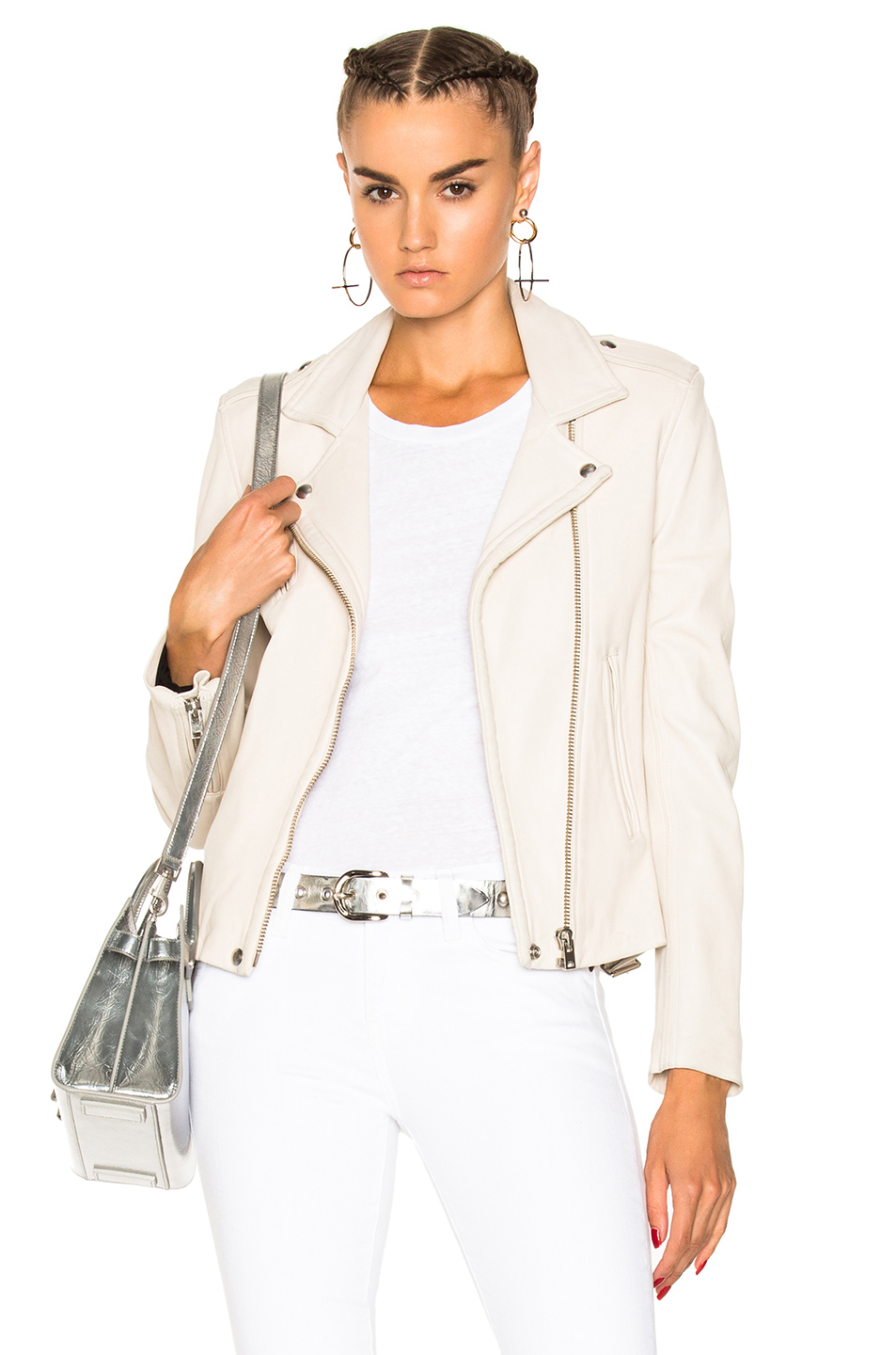 IRO Han Leather Jacket in Neutrals,White