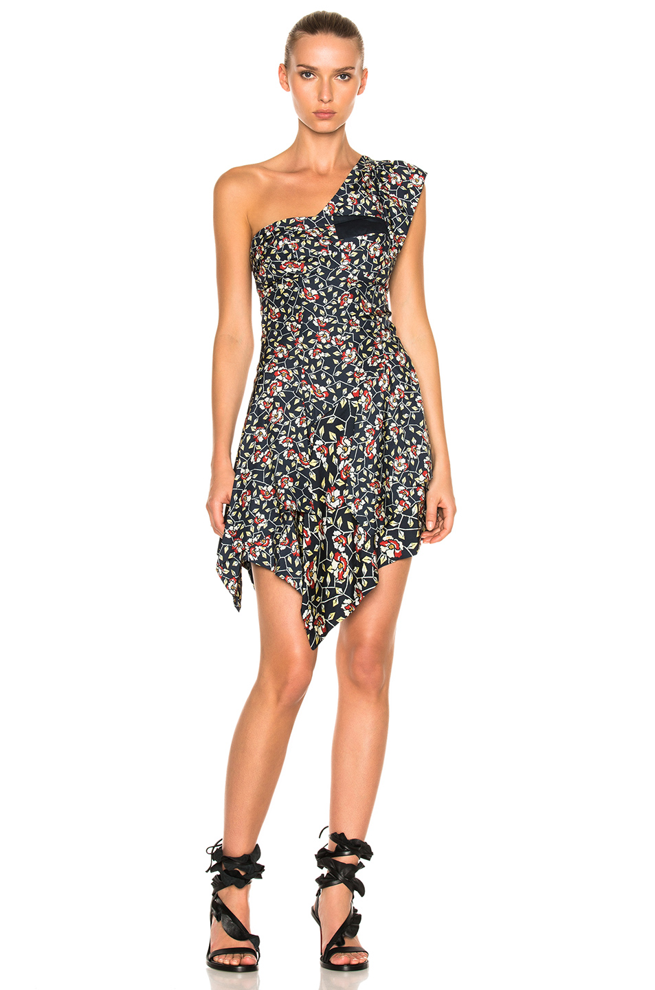 Isabel Marant Ricco Dress in Black,Floral,Red,Yellow