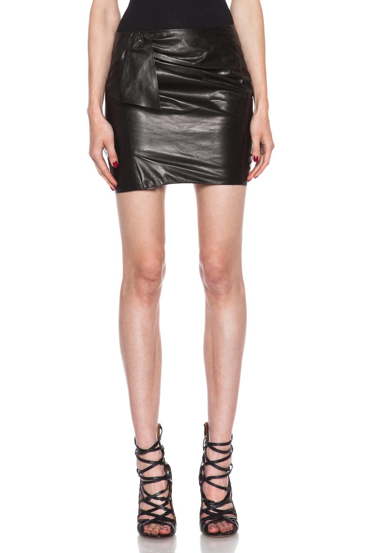 marant boden lambskin leather skirt in black fwrd