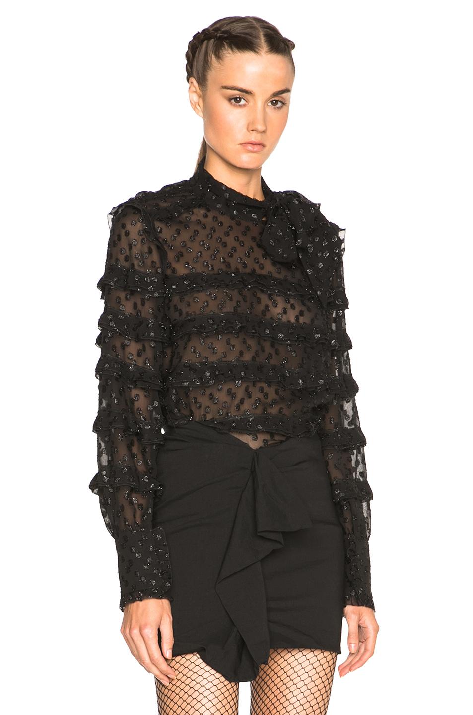 Isabel Marant Lurex Dot Alba Top in Black,Metallics