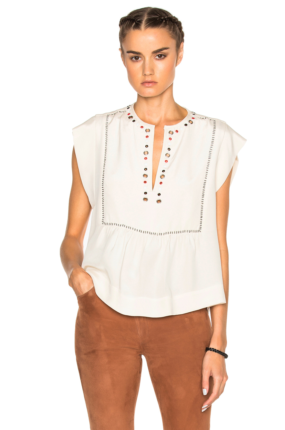 Isabel Marant Florent Eyelet Embroidery Top in Neutrals