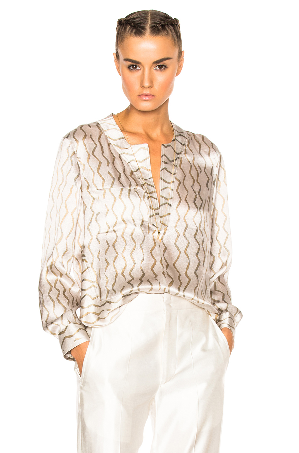 Isabel Marant Simon Blouse in Abstract,Neutrals,White