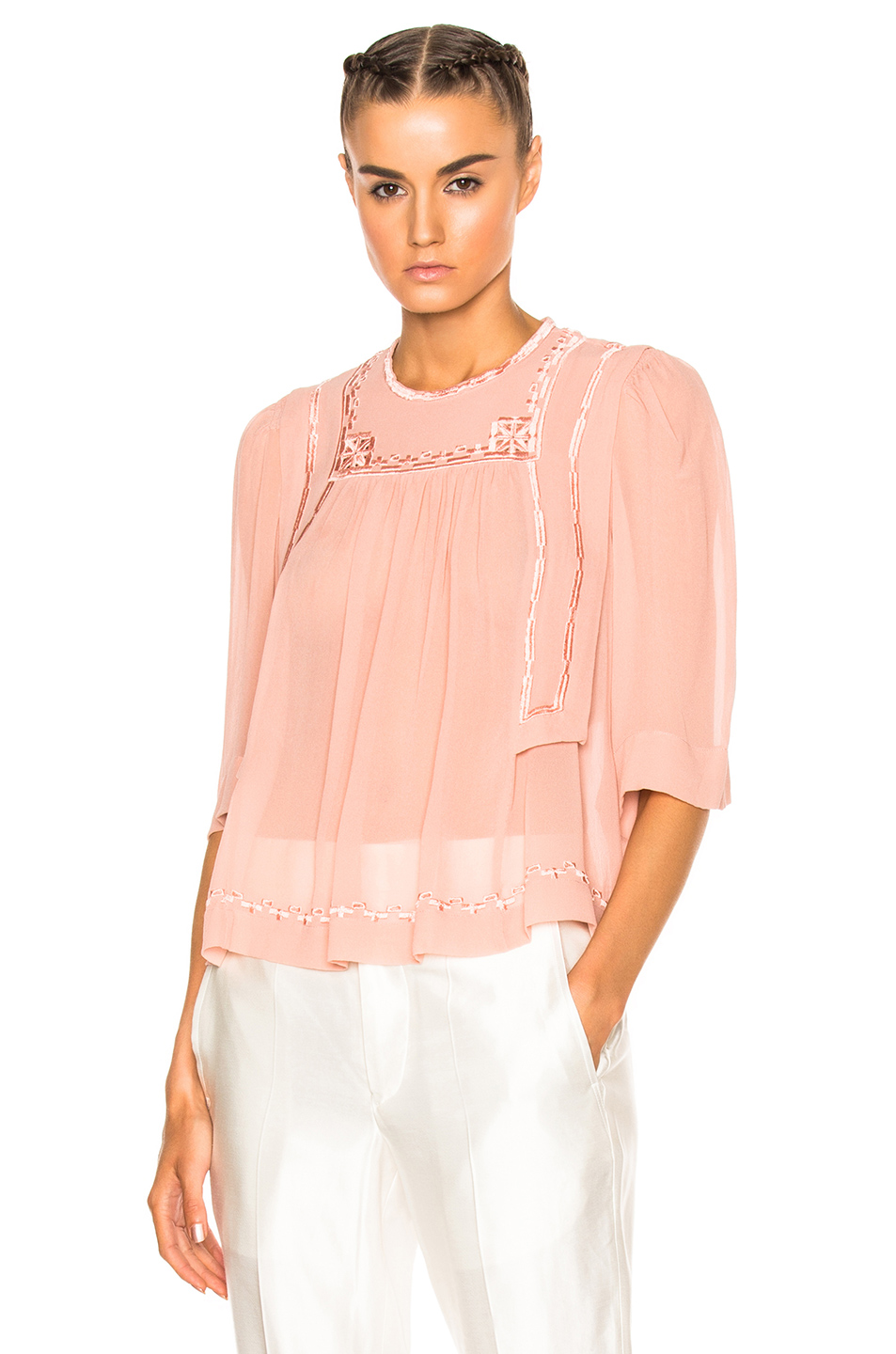 Isabel Marant Mara Blouse in Neutrals,Pink